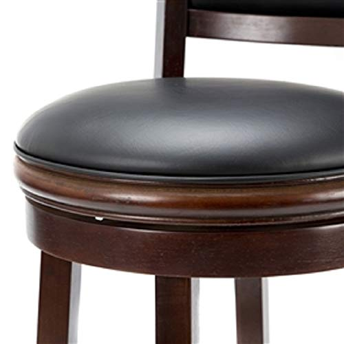 Old Hickory Furniture Leather (CHOOSEandBUY Cherry 29-inch Solid Wood Bar Stool with Faux Leather Swivel Seat New Sturdy Classic Elegant Furniture)