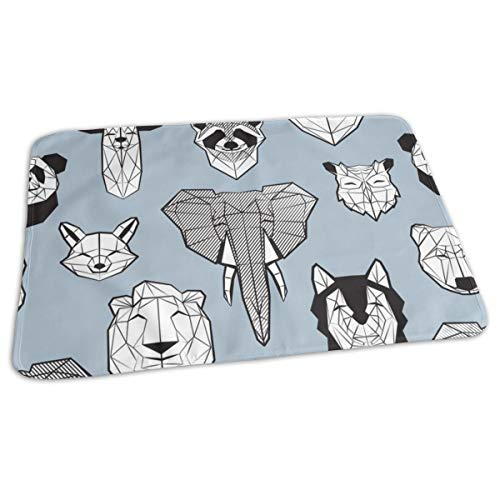 (Friendly Geometric Animals Scale Pale Blue Background Black and White Deers Bears Foxes Wolves Elephants Raccoons Lions Owls and Pandas Baby Portable Reusable Changing Pad Mat 19.7X 27.5 inch )