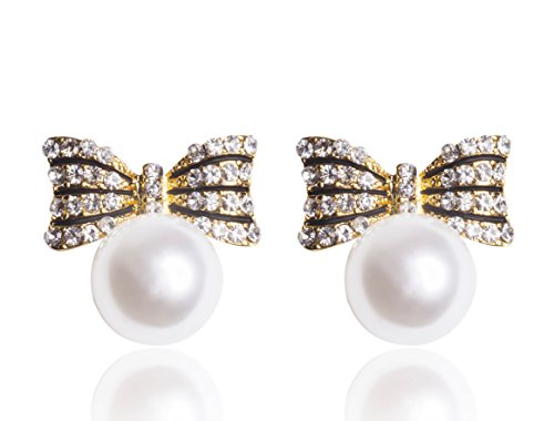 MISASHA Celebrity Designer Imitation Pearl Bowtie Studs Earrings (New Chanel Sunglasses)