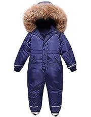 Minizone Pojkar flickor snödräkt ett stycke snöoverall med huva vattentät justerbar skiddräkt långärmad overall vinter ytterkläder för barn 4–8 år