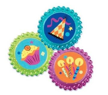 Birthday Label Rings Cupcake Toppers Set of 12