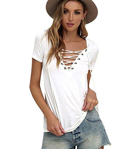 ISSHE Oversize T Shirt V Ausschnitt Damen Sommer T Shirts Kurzarm Frauen  Lockere T-Shirt 84620ee6eb