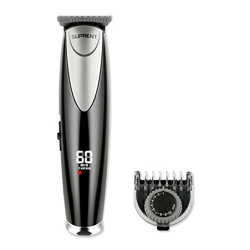 SUPRENT Adjustable Beard Trimmer length 20 Built-in Precise Lengths 0.5mm-10mm Beard Trimmer with 1 hour Fast&Quick USB Charge, Li-ion Battery Portable Travel Bag(Black)