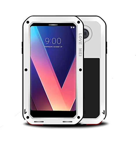 LG V30 Case,Mangix Love Mei Water Resistant Shockproof Aluminum Metal [Outter] Super Anti Shake Silicone [Inner] Fully Body Protection with Tempered Glass Screen Protector for LG V30 (White) (Protector G3 Screen Lg Spigen)