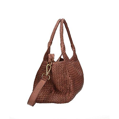 De Estilo Genuino Vintage Cuero Bolsa Italia Mujer En Ctm Trenzado Cm Con Barro Hecho 38x26x15 Correa Hombro gwFRAnqxE