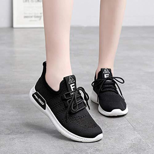 QinMM Zapatos Mujer Mallas Zapatillas Cordones Deportivos Verano Negro con Primavera Merceditas otoño Gym Running Transpirables para de HqgUw81g