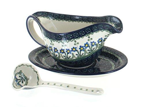 (Blue Rose Polish Pottery Blue Posy Gravy Boat & Plate )