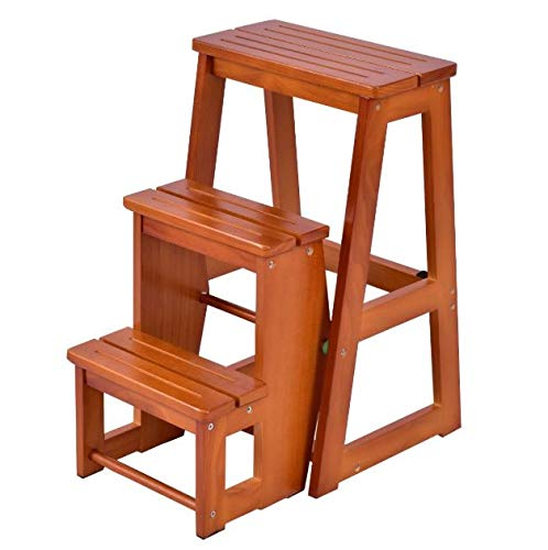 Cypressshop Wood Folding Step Stool Ladder 3 Tier Chair Bench Seat Utility Multi-Functional for Kitchen Office Bathroom High Cabinet Changing Light Bulbs Washing