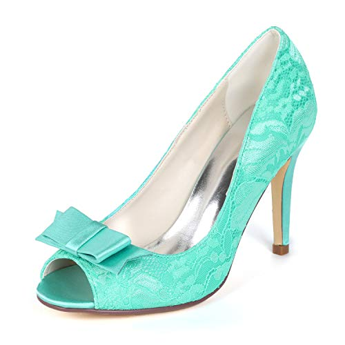 Peep Toe Lace Bow Pump - Creativesugar Women's lace Heels, Open Toe with Bow Sweet Wedding Shoes, Bridal Bridesmaid Dress Prom Pumps (10, Turquoise)