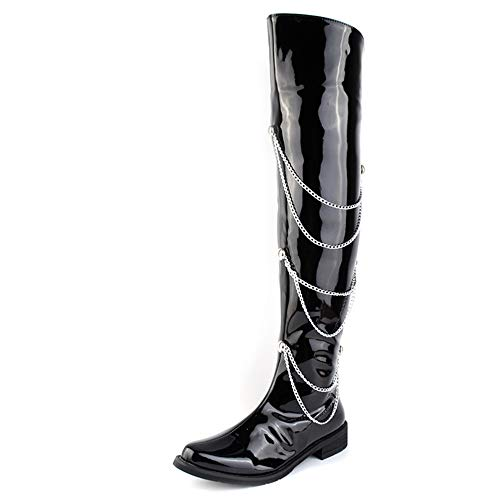 (Dig dog bone Men's Fashion Over The Knee High Boots Synthetic Patent Leather Side Zipper Chain Decoration Motorcycle Boots (Color : Black, Size : 8 D(M))
