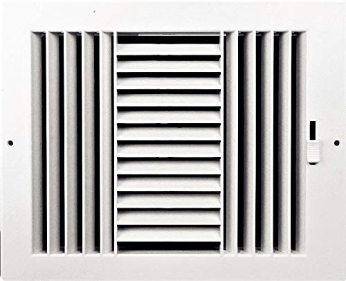 - Three-way plastic register side wall/ceiling air register with multi-shutter damper in white (8