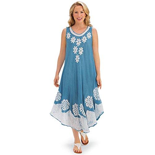 Collections Encolure Dégagée Florale Robe Imprimée D'été Sans Manches Flowy Avec Garniture Batik Chambray