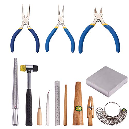 PandaHall Elite 13 Sets Jewelry Tool with Metal Mandrel Finger Sizing Measuring Stick, Ring Sizer Guage, Jewelry Pliers, Jewelers Hammer, Wooden Ring Clamp, Anvil, Awls