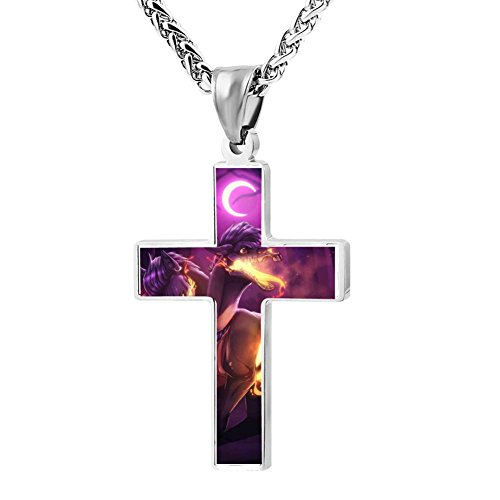 Funny Patriotic Cross Halfway to hell dulla ych Religious Lord's Zinc Jewelry Pendant Necklace ()