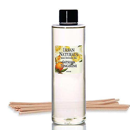 Urban Naturals Satsuma Tangerine Reed Diffuser Refill Set | Includes a Free Set of Reed Sticks! 4 oz | Long Lasting Room Scent | Great Home Gift ()