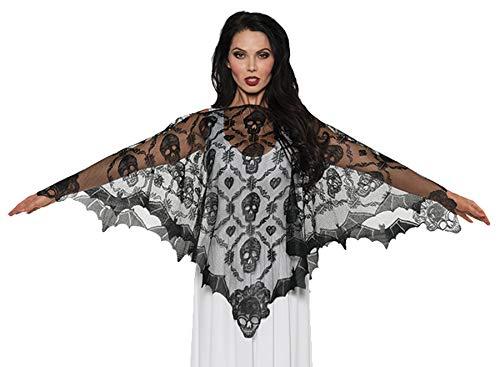 Underwraps Women's Vampire Lace Poncho, Black, One Size