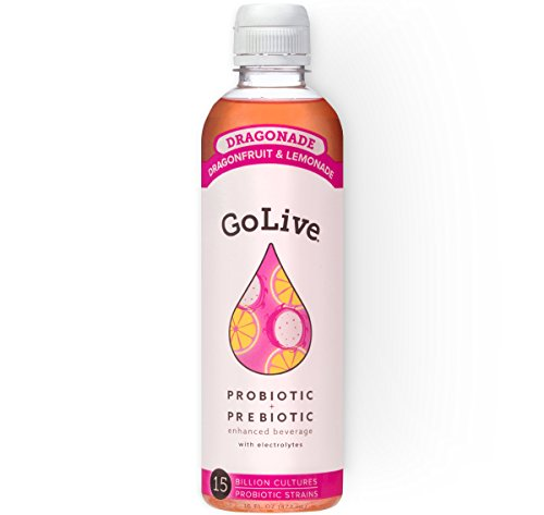 Golive Dragonade Probiotic   Prebiotic Ready To Drink  Dragon Fruit   Lemon  16 Ounce  Pack Of 6