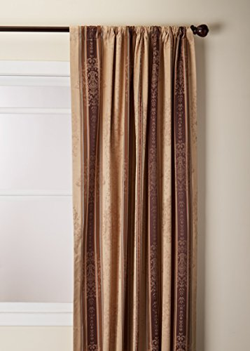 Thermatec Tuscan Stripe Scroll Stripe Jacquard Blackout Rod Pocket Panel, 52 by 84-Inch, Mocha