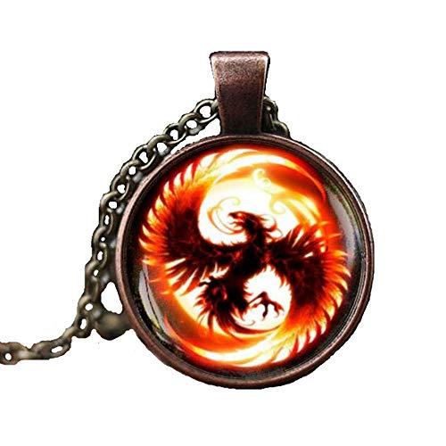 Phoenix Necklace, Phoenix Pendant, Pheonix Jewelry, Phoenix Charm, men's necklace (Phoenix Stone)