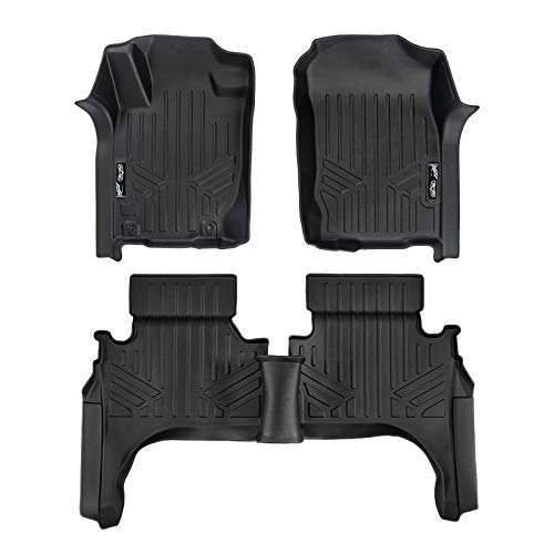 SMARTLINER Floor Mats 2 Row Liner Set Black for 2015-2017 Mitsubishi L200 Crew -