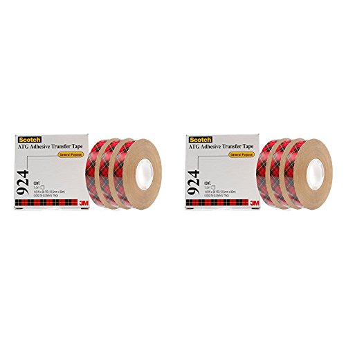 924 Adhesive Transfer Tape - Scotch ATG Adhesive Transfer Tape 924 Clear, 0.50 in x 36 yd 2.0 mil (6 Pack)