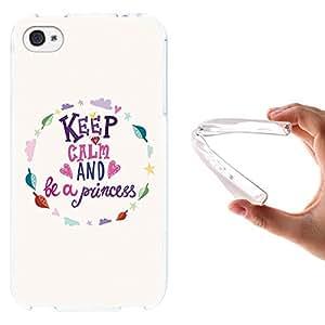 WoowCase - Funda Gel Flexible { iPhone 4 iPhone 4S } Keep Calm And Be a Princess Carcasa Case Silicona TPU Suave