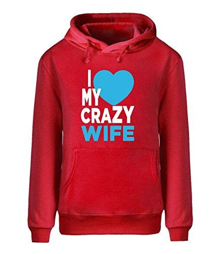 Eagle u2 Men's Pullover fleece hoodie I love My Crazy Wife red