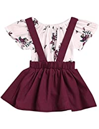09ea47e6922 2Pcs Infant Baby Girls Floral Print Rompers Jumpsuit Skirt Outfits Set