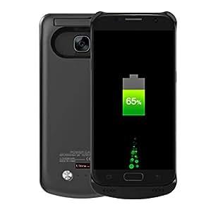Ultra® Samsung Galaxy S7 borde negro edición externa 4200 mAh cargador poder funda batería copia de seguridad disponible en color negro como una pata de cabra