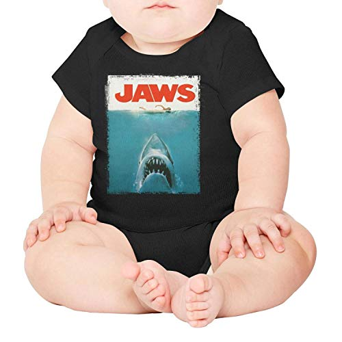 Jaws Film Poster Shark Baby Onesie Black Outfits Short Sleeve Cotton Soft]()