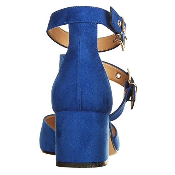 Scarpe E Borse Da Donna Col Tacco Vialescarpe Decolté Bluette Con Cinturini