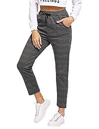 Milumia - Pantalones de Cintura Media para Mujer, Informales, con Cierre, a Cuadros
