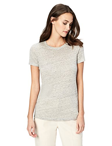 Amazon Brand - Daily Ritual Women's 100% Linen Short-Sleeve Crew Neck T-Shirt, Charcoal Heather - T-shirt Cotton Sheer