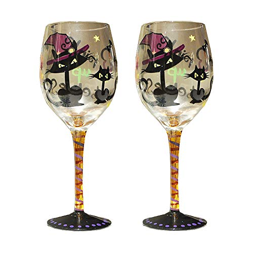 Sungmor 12 oz Set of 2 Hand Painted Artisan Wine Glass | Unique Pattern Gift Goblet Red Wine Glass-Demon Cat