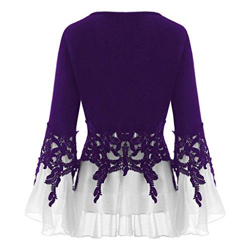 Mousseline Soie Longues Applique Occasionnels Casual en Mode Longues Noir Femmes VJGOAL Manches Blouse Tops V Violet Cou De Flowy Manches 0nwx7q0vaY