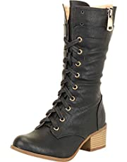 Cambridge Select Women's Lace-Up Chunky Stacked Block Low Heel Mid-Calf Boot