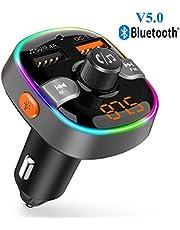 Trasmettitore FM Bluetooth 5.0 per Auto con 2 Porta USB (QC 3.0 e 2.4A) Supporta Chiavetta USB e Scheda TF Radio Bluetooth Auto Chiamate Vivavoce Supporto Siri con Luce 7 Colori Ricevitore Bluetooth