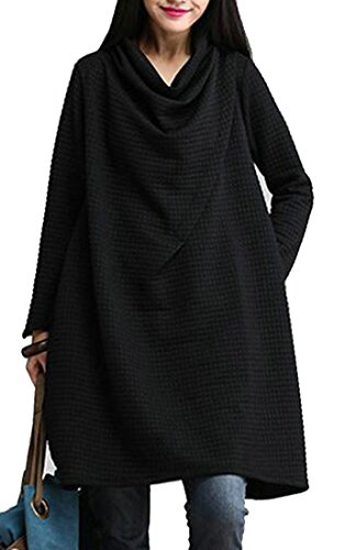 Casual Women's Neck Dress Tunic Sleeve Shirt T Cowl Slim Jaycargogo Black Long 5S4n5H