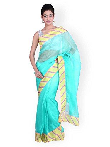 Traditional Export Geroo Silk Jaipur Kota Indian Handicrfats Turquoise Saree Blue 4TwgT6qa