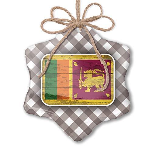NEONBLOND Christmas Ornament Flag on Wood Sri Lanka Grey White Black Plaid