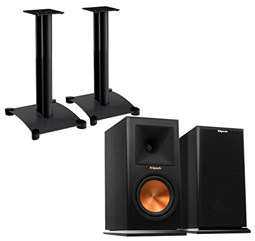 Klipsch Reference Premiere RP160M (Pair) Bookshelf Speakers with Sanus SF22B1 (Pair) Bookshelf Speaker Stands - Ebony