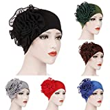 Nacome Chemo Caps Cancer Hats for Women,Ruffle Chemo Turban Headband Scarf Beanie Cap Hat for Cancer Patient (Black)