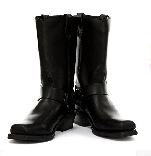 Unisex Real Leather Hi Biker Boots Rock Punk Grinders Buckle Cowboy Riding Black UBbI1H4aXO