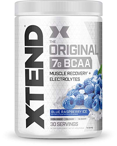 Scivation Xtend BCAA Powder, Branched Chain Amino Acids, BCAAs, Blue Raspberry Ice, 30 ()