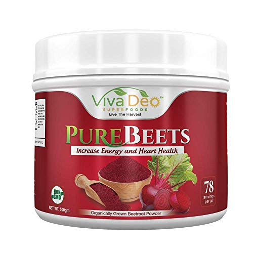 PureBeets 100 Organic Pure Beet Root Powder Best Value Beetroot Nitric Oxide Supplement Beets Support Faster Recovery Total Body Health – Viva Deo 17.5 oz, 78 Servings