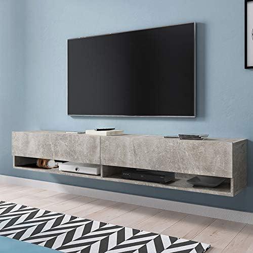 Selsey Wander - Mueble TV Suspendido/Mesa TV/Mueble para Salón (180 cm, sin LED, Cemento Gris): Amazon.es: Ropa y accesorios