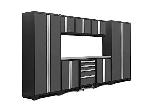 Newage Products 50409 Bold 3 0 Garage Storage Cabinet Set With Stainless Steel Worktop  9 Piece   Gray