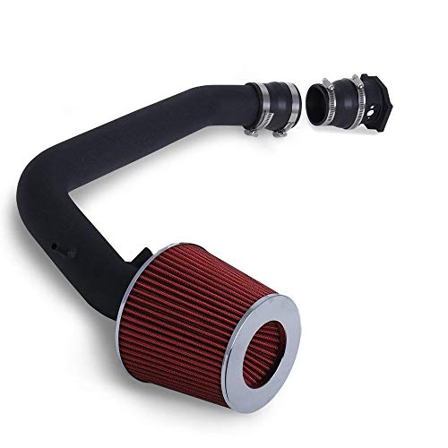 For 1995-1998 Nissan 240SX 2.25 Inch Aluminum High Flow Cold Air Intake System Black Pipe with Air Filter Red ()