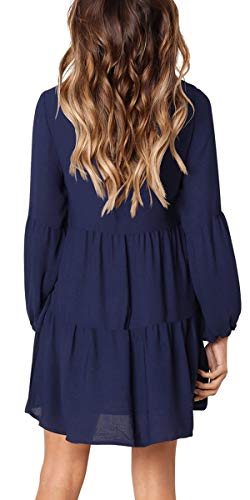 Dasbayla Neck Women's Navy Blue Puff Casual Ruffle Midi Hem Sleeve Pleated Long V Swing Dresses 11rFUq