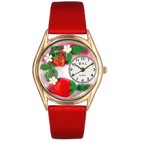Whimsical Watches Women's C1210006 Classic Gold Strawberries Red Leather And Goldtone Watch ()